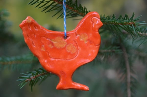 Our chicken Christmas ornaments are made of heavy duty stoneware clay and beautiful glazes. They make great gifts for your favorite chicken lover!