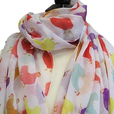 This scarf is covered in colorful chickens, what more could you want in life?!