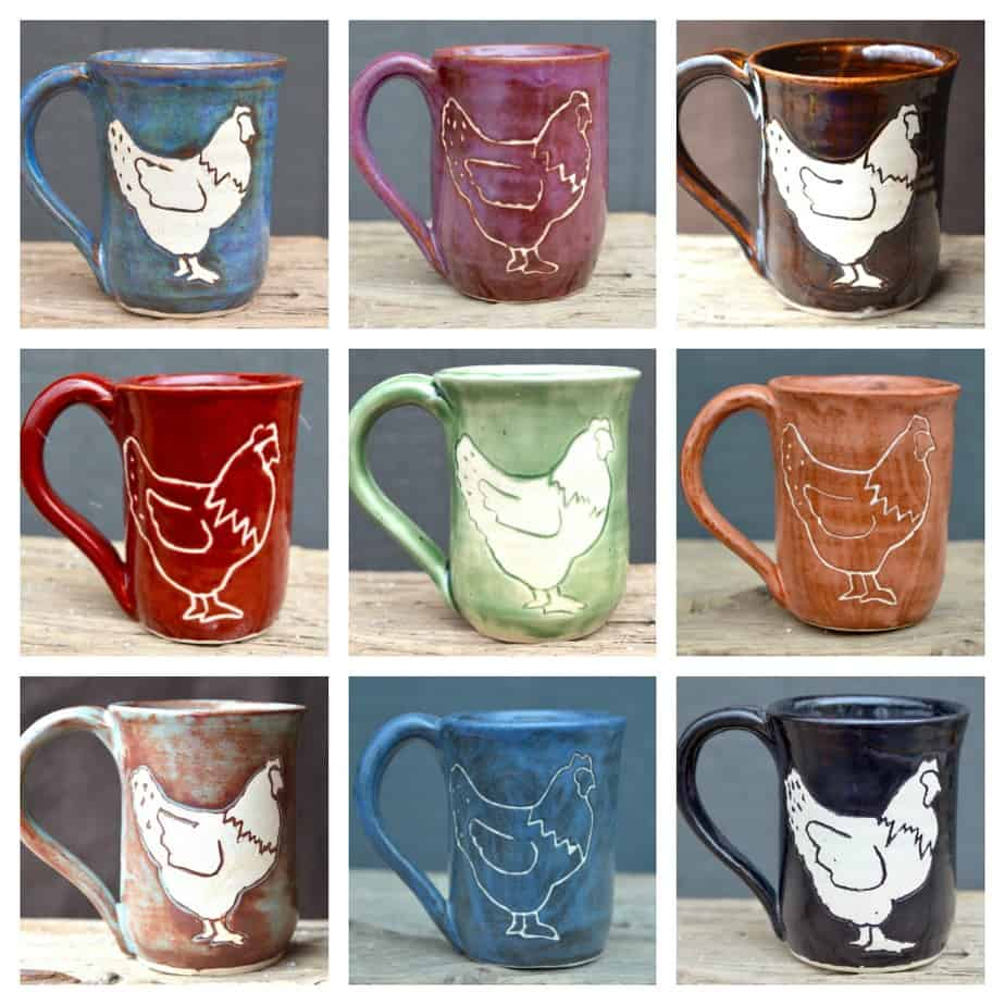 Our handmade chicken mugs come in a variety of colors and textures!