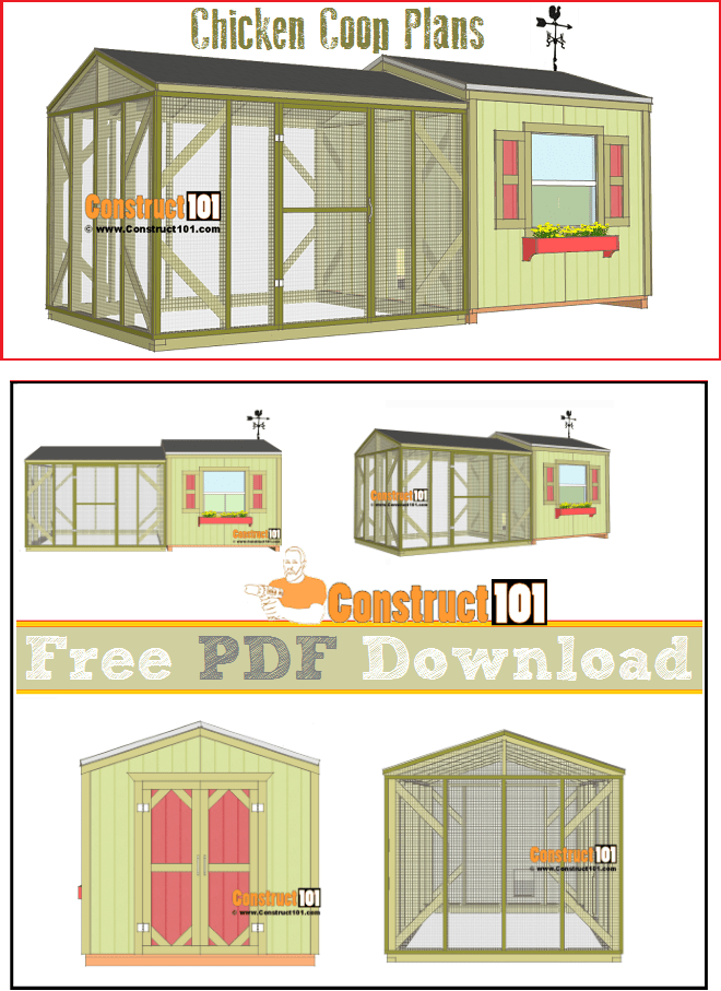 This free chicken coop plan includes the coop and the run