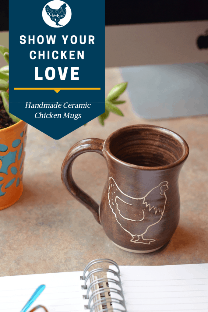 Our chicken mugs are made with high quality stoneware clay and shino glazes. They are handmade with love, one at a time. The chicken symbol is unglazed, leaving it matte and textured. The shino glazes really make it stand out by glistening inside the details. The extra large handle is comfortable for lady and man hands alike. This mug is so comfortable to hold you won't be able to put it down! #homesteading #homestead #backyardchickens #chickens #raisingchickens #poultry #pottery #ceramicmug #chickenmug #mug #coffeemug