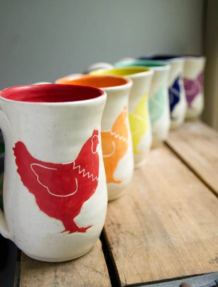 There's just nothing like getting cozy with a cup of coffee in a beautiful handmade stoneware chicken mug!