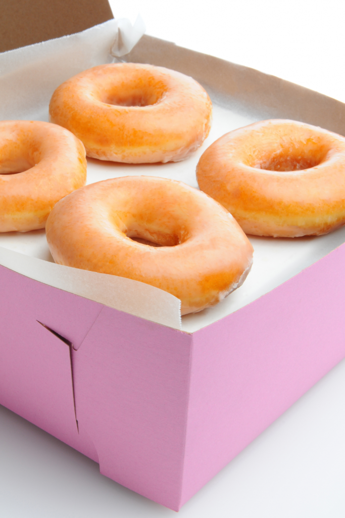 A box of glazed donuts.
